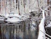 在小河附近的长凳在冬天森林,新鲜的雪里 免版税库存照片