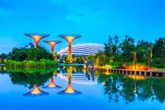在小游艇船坞海湾沙子的Supertrees,新加坡 库存照片