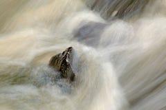 在小瀑布下的喷水在山小河,水落在生苔冰砾 浪花在水平和石渣mi创造 图库摄影