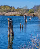 在小瀑布锁,俄勒冈的老码头 库存照片
