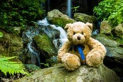 在小瀑布附近的玩具熊落在生苔岩石 免版税库存照片