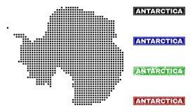 在小点样式的南极洲大陆地图与难看的东西标题邮票 向量例证