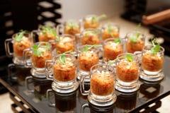 在小玻璃的茄子开胃菜 库存照片