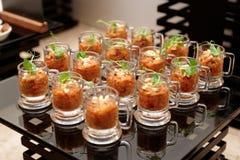 在小玻璃的茄子开胃菜 库存图片