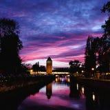 在小的法国区的日落在史特拉斯堡,德国 库存图片