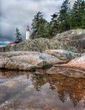 在小的潮汐池的灯塔反映 免版税库存图片
