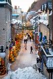 在小的Champlain上看法在魁北克市,加拿大 免版税库存照片