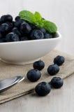 在小碗的蓝莓 免版税库存图片