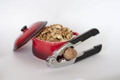 在小红色平底深锅的被剥皮的核桃有胡桃钳的 库存图片