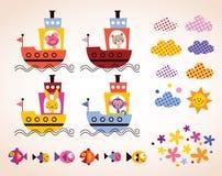 在小船孩子的逗人喜爱的动物设计元素集 库存图片