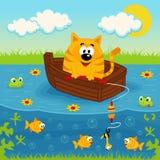 在小船渔的猫在池塘 免版税库存图片