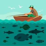 在小船的人渔 许多鱼 免版税库存照片