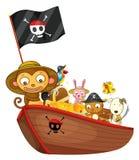 在小船的动物 库存图片