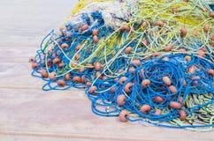 在小船的捕鱼网细节 免版税图库摄影