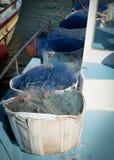 在小船的捕鱼网 免版税图库摄影