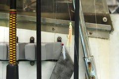 在小船的捕鱼装置 免版税库存图片
