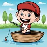在小船的男孩渔 免版税库存图片