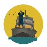 在小船的边防卫兵 向量例证