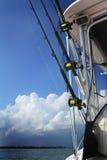 在小船的钓鱼竿 库存图片