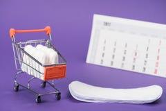 在小购物车、每日划线员和日历的棉塞 免版税库存图片