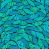 在小野鸭和蓝色颜色的抽象波浪背景 无缝的模式 蓝色和marrs绿色波浪 传染媒介波浪纹理 库存例证