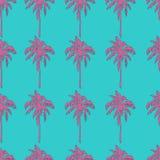 在小野鸭蓝色背景无缝的样式的桃红色棕榈树 免版税图库摄影