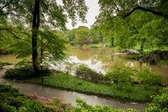 在小雨以后的中央公园在纽约 免版税库存图片