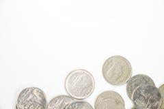 在小组的一泰铢硬币在低fram 免版税库存照片
