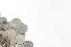 在小组的一泰铢硬币在左下框架 免版税库存图片