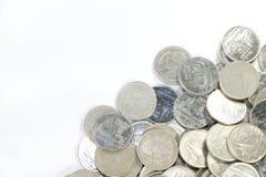 在小组的一泰铢硬币在框架更低的右边  免版税库存照片