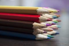 在小组的颜色Pencills 库存照片