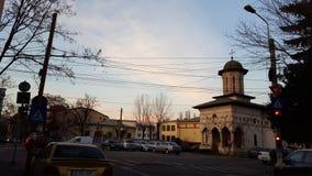 在小Elefterie教会的日落 免版税库存照片