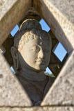 在小stupa里面的被雕刻的石菩萨雕象 库存图片