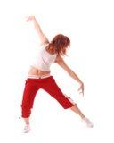 在少年白色的有吸引力的背景跳舞 库存图片
