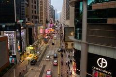 在尖沙咀街道上的霓虹灯 图库摄影