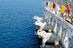 在尖齿Mandir的大象雕象在乌代浦 印度 库存图片