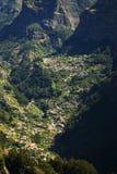 在尼姑谷,马德拉岛海岛,葡萄牙的看法 免版税库存照片