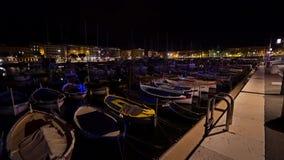 在尼斯口岸的小船在夜 影视素材