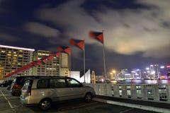 在尼斯夜视图的Carpark morden大厦,香港 免版税库存照片