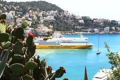 在尼斯港口运送在法国 免版税库存照片