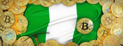 在尼日利亚旗子附近的Bitcoins在左边的金子和镐 3d il 库存照片