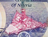 在尼日利亚的近海石油平台500奈拉2016年钞票关闭 免版税库存照片