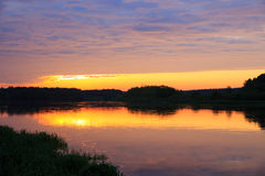 在尼曼河的黎明 库存图片