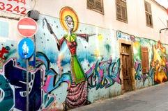 在尼科西亚,塞浦路斯老街道的街道画  免版税库存图片