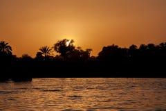 在尼罗的日落在埃及 库存图片