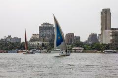 在尼罗的风船在开罗在埃及 库存照片