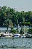 在尼罗,开罗,埃及的小船 免版税库存图片
