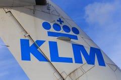 在尾巴的KLM商标 库存图片