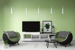 在居住的颜色充分的样式内部的聪明的电视 3d?? 皇族释放例证
