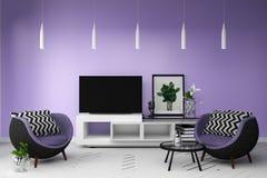 在居住的颜色充分的样式内部的聪明的电视 3d?? 向量例证
